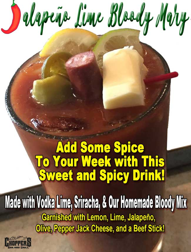 To kick off Cinco de Mayo this Friday, May 5th, we are introducing a new drink: Jalapeño Lime Bloody Mary! Come and get them Friday while supplies last. Don't forget -- we open at 8AM now on Fridays! Made with Vodka Lime, Sriracha, & Our Homemade Bloody Mix. Garnished with Lemon, Lime, Jalapeño, Olive, Pepper Jack Cheese, and a Beef Stick! YUM! While supplies last!