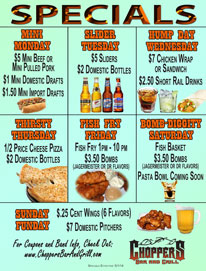 NEW Daily Specials Effective 5/1/14  ~ MINI MONDAY ~ $5 Mini Beef or Mini Pulled Pork $1 Mini Domestic Drafts $1.50 Mini Import Drafts  ~ SLIDER TUESDAY ~  $5 Sliders $2 Domestic Bottles  ~ HUMP DAY WEDNESDAY ~ $7 Chicken Wrap or Sandwich $2.50 Short Rail Drinks  ~ THIRSTY THURSDAY ~ 1/2 Price Cheese Pizza $2 Domestic Bottles  ~ FISH FRY FRIDAY ~  Fish Fry 1pm - 10 pm $3.50 Bombs (Jagermeister or Dr flavors)  ~ BOMB-DIGGITY SATURDAY ~  Fish Basket $3.50 Bombs (Jagermeister or Dr flavors) Pasta Bowl Coming Soon  ~ SUNDAY FUNDAY ~ $ .25 Wings - 6 Flavors  $7.00 Domestic Pitchers
